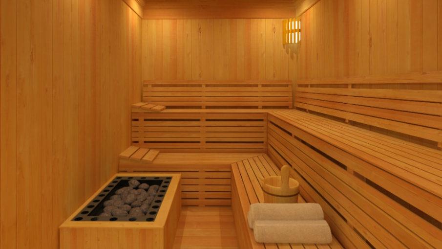 sauna drewniana z parą